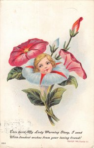 US3426 This Card, My Lady Morning Story Flower head Surrealism Fantasy Embossed