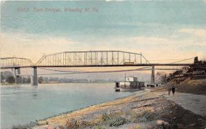 Wheeling West Virginia~Twin Bridges on Ohio River~Docked Boat~Men Walking~1918