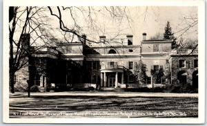 Hyde Park, New York RPPC Photo Postcard Front View Roosevelt Home FDR 1950