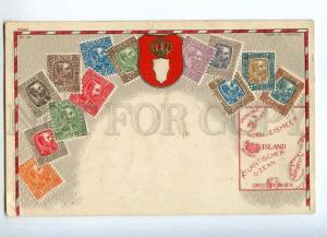 231914 Iceland Coat of arms STAMPS Vintage embossed Zieher PC