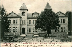 Vtg Postcard 1906 Pelham High School - Pelham GA - UDB - PCK Series