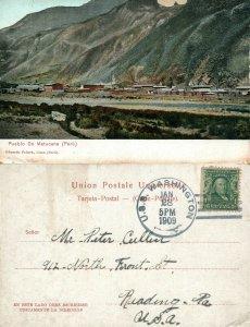 PUEBLO DE MATUCANA PERU 1909 ANTIQUE POSTCARD