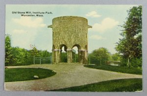 Old Stone Mill, Institute Park, Worcester MA Postcard (#7945)
