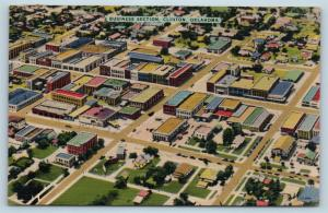 Postcard OK Clinton Airview of Business Section Vintage Linen I22