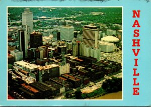 Postcard TN Tennessee Nashville Aerial View Downtown Posted