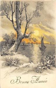 Bonne Annee! Happy New Year! Winter, Boats, Sunset