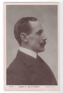 King Haakon VII Norwegian Royalty Side Profile Norway 1910c RPPC postcard