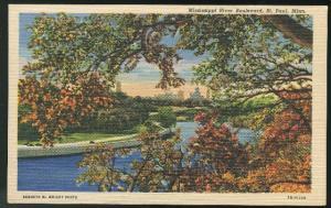MN Minnesota Mississippi River Boulevard St Paul  Curteich 1945 Linen postcard