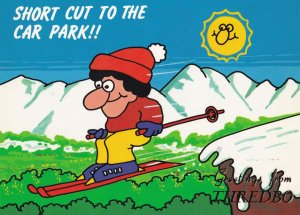Greetings From Thredbo Comic Skiing Australia Postcard