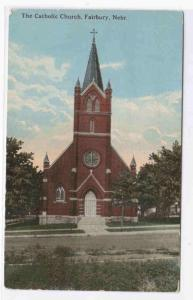 Catholic Church Fairbury Nebraska 1926 postcard