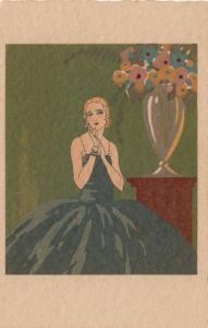 ART DECO ; Blond Female wearing green spaghetti strap ball gown, 1910-20s