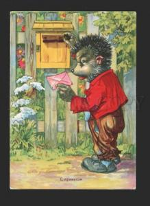 078563 Dressed HEDGEHOG near POSTBOX old color PC