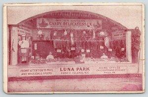 New York City~Coney Island~Luna Park~Bauer Sisters Candy Meat Delicatessen~c1910