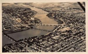 Canada Saskatoon from the Air River Bridges Panoramic view Postcard