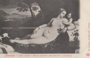 Firenze Venere Giacente Con Amorino Painting Tiziano Antique Italian Postcard