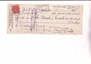Cheque Bank Of Toronto, 1935, Stanbury & Son Montreal, Quebec, Canadain Stamp