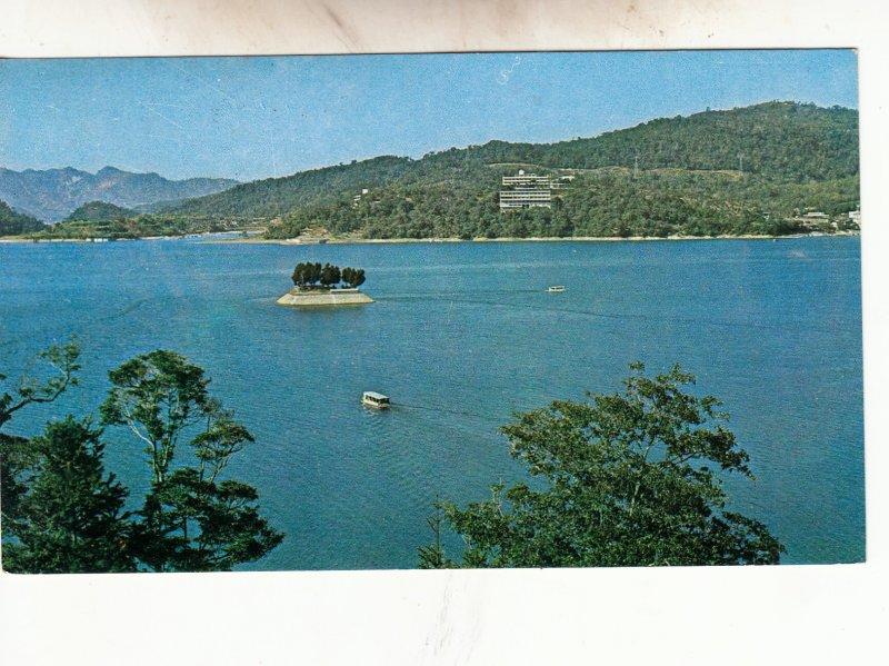 P1952 1970 postcard the sight view kuang hua harbor etc islands taiwan stamps