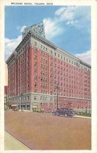 Toledo Ohio~Waldorf Hotel Corner View Cars and People in Street 1920 Postcard