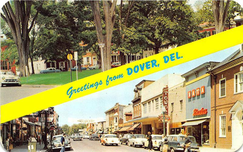 Dover DE Street View Store Fronts Old Cars Postcard