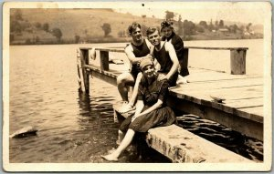 Vintage RPPC Real Photo Postcard Teens on Bathing Pier 2 Couples c1910s Unused