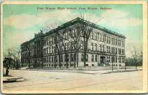 1910s Fort Wayne, Indiana Postcard FORT WAYNE HIGH SCHOOL Building View Unused