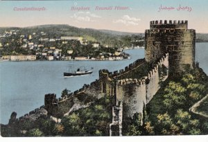 P1879 old postcard constantinople bosphore roumeli hissar turkey view with ship