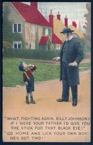 What Fighting again Billy Johnson If I were... Boy & Man Humor Used 1911