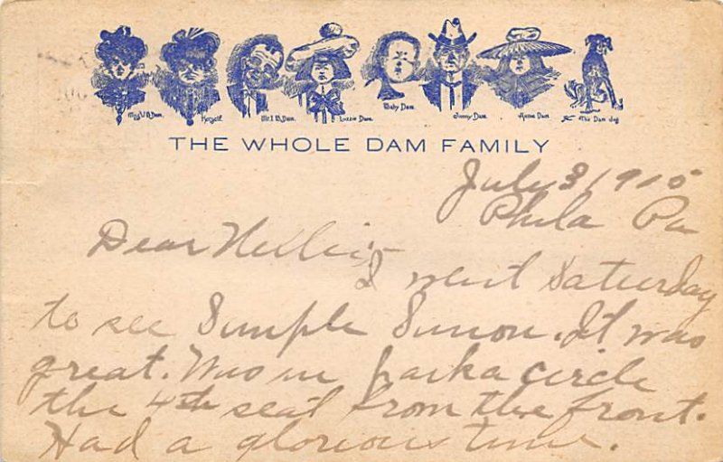 Dam Family Post Card The Whole Dame Family 1905