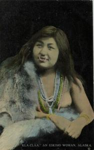 alaska, Native Nude Eskimo Woman Kla-Claa, Nose Piercing Necklace Jewelry 1930s
