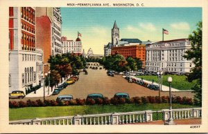 Vtg 1930s Pennsylvania Avenue Nations Capitol Washington DC Linen Postcard