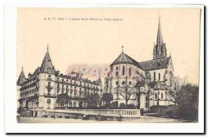 Pau Old Postcard L & # 39eglise Saint Martin and hotel Gassion