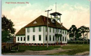 Manatee, Florida Postcard High School Building View c1910s UNUSED