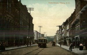 Ithaca NY State St. Trolley c1910 Postcard
