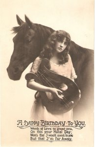 Horse and lady with music instrument  Nice vintage Birthday Greetings PC
