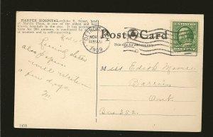 USA Postmark 1909 Detroit Mich Harpers Hospital Detroit Color Postcard