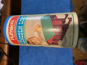1974 PLAYSKOOL LINCOLN LOGS SET IN ORIGINAL CAN