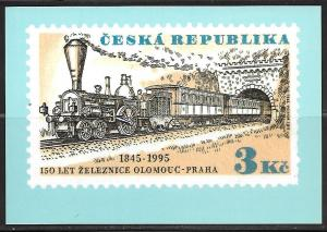 Czech Republic, 1995, railroad stamp, 3kc, unused