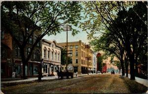 Herkimer New York~Main Street~Owl Cigar~Barber Shop Pole~Horse Wagon~1908 PC
