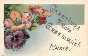 D77/ Greenwich Kansas Ks Postcard Greetings from Kansas c1910