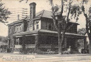 Nappanee Indiana Travelers Inn Exterior Street View Antique Postcard K20848