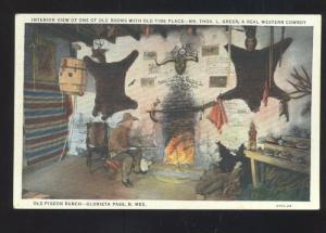 GLORIETA PASS NEW MEXICO OLD FIRE PLACE INTERIOR VIEW VINTAGE POSTCARD