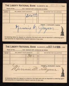 ME Lot 2 Liberty National Bank Ellsworth Maine Postcards  Carte Postale