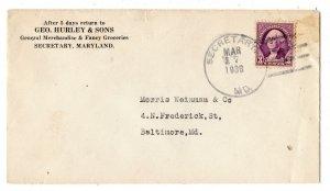 1938 SECRETARY MARYLAND MD GEO HURLEY & SONS GENERAL MERCHANDISE COVER/ENVELOPE
