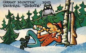 Comic, Owl, Man Laying Back & Drinking, Great Huntin'....Had Several Shots...