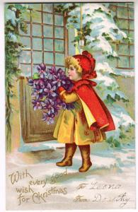 Xmas Card, Little Red Riding Hood with Flowers