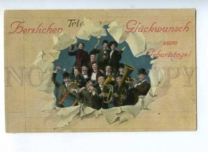 190235 BIRTHDAY Orchestra CHAMPAGNE Vintage COLLAGE postcard