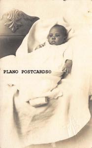 BLACK AMERICANA CUTE BABY IN GOWN-1930-40'S ERA RPPC REAL PHOTO POSTCARD