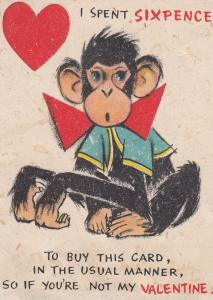 Monkey Chimpanzee Sixpence Coin 1950s Comic Valentines Card