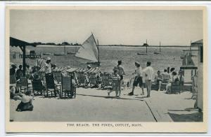Beach Scene People The Pines Contuit Massachusetts postcard