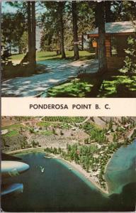 Ponderosa Point Resorts Kaleden BC Penticton Aerial Multiview Postcard D64